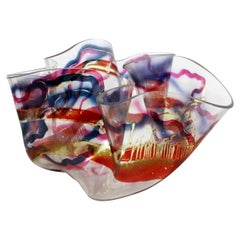 Contemporary Modern Massive Memphis Laurel Fyfe Slumped Art Glass Bowl 1980s