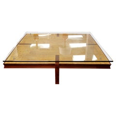 Contemporary Modern Massive Square Burl Wood Floating Glass Coffee Table, 1980s