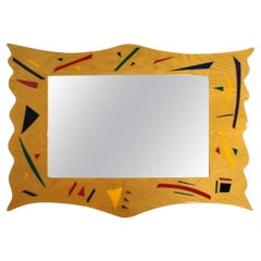 Contemporary Modern Memphis Large Rectangular Lacquered Hanging Wall Mirror