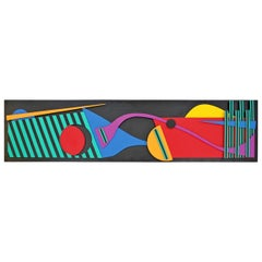 Contemporary Modern Memphis Painted Wood Assemblage Wall Art Sculpture Relief