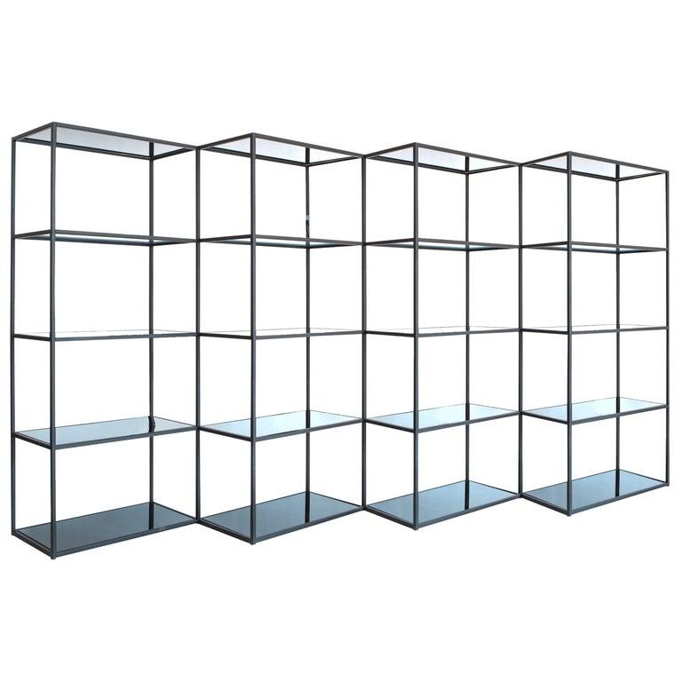 Contemporary Modern Minimal Black Zigzag Modular Bookcase Room Divider, USA For Sale