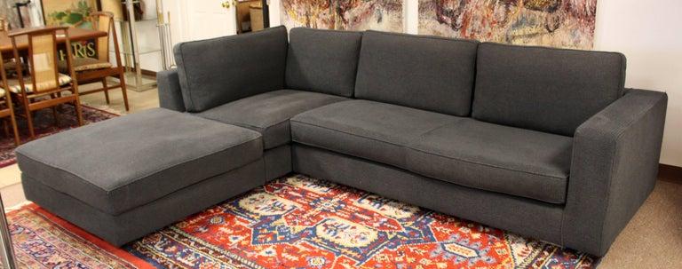 Contemporary Modern Minotti Hilton Two-Piece Blue Grey Sectional Sofa  Italian