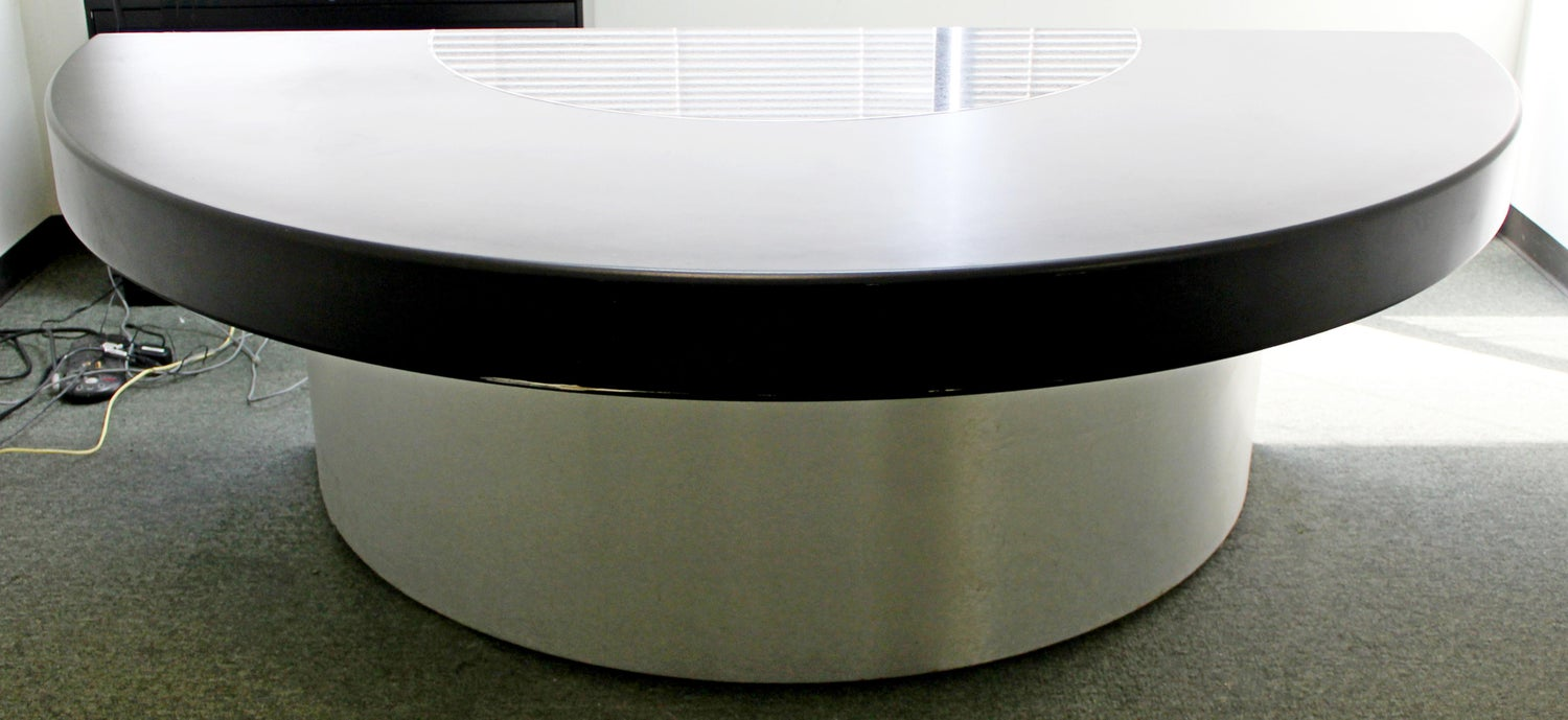 Contemporary Modern Monumental Circular Black Leather Granite Office Desk,  50s