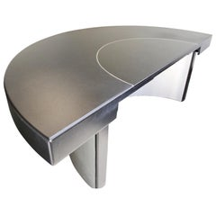 Contemporary Modern Monumental Circular Black Leather Granite Office Desk, 1980s