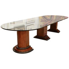 Contemporary Modern Monumental Rosewood Granite Glass Dining Conference Table