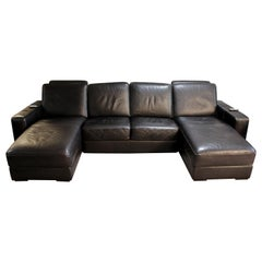 Contemporary Modern Natuzzi Black Leather 4-Seat Sectional Sofa with 2 Chaises
