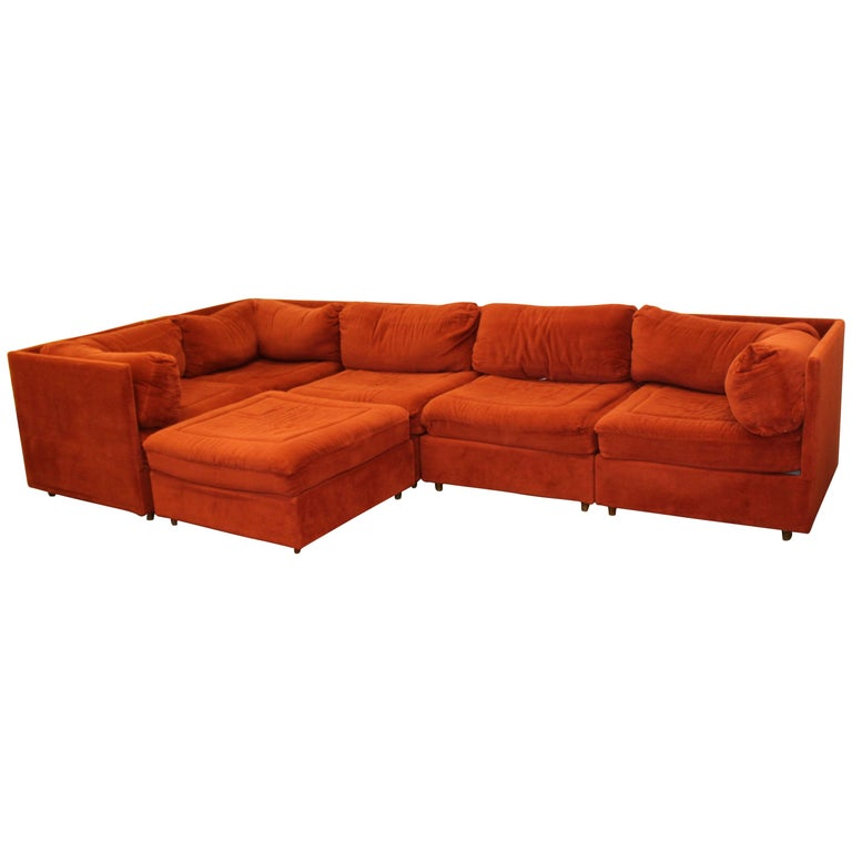Contemporary Modern Orange 5 Piece Sectional Sofa And