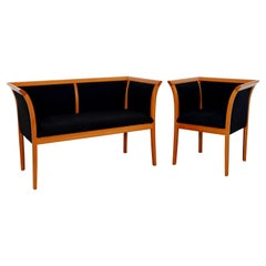 Contemporary Modern Pace Loveseat & Chair Set Made in Italy Wood & Black Velvet