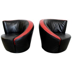 Contemporary Modern Pair Curved Swivel Lounge Chairs, 1980s