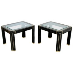 Contemporary Modern Pair of Maitland Smith Tessellated Stone Glass Side Tables