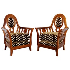 Contemporary Modern Pair of Art Deco Style Zebra Print Studio Curved Armchairs