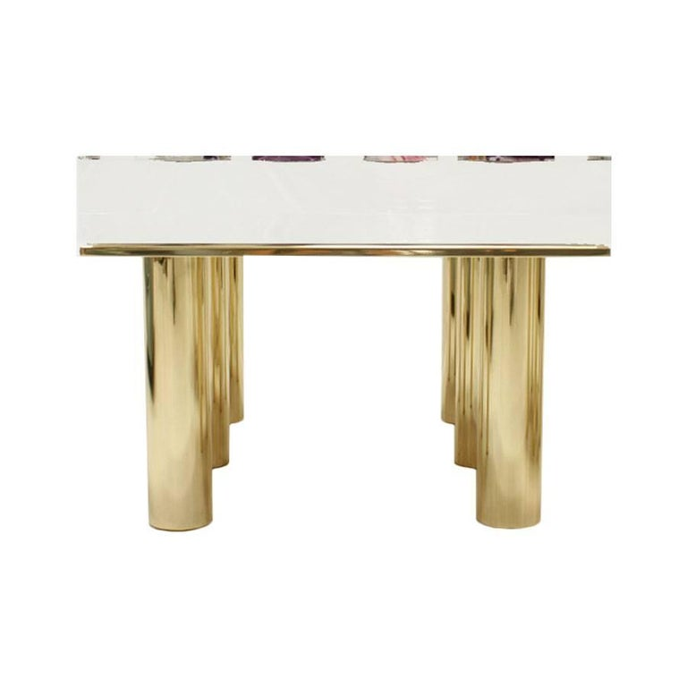 Pair of Italian coffee tables designed by Studio Superego. Base composed of six solid brass legs and methacrylate of 10 cm thick with agates crimped on top.