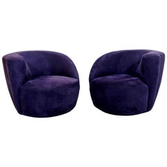 Contemporary Modern Pair of Kagan Corkscrew Swivel Chairs, 1980s
