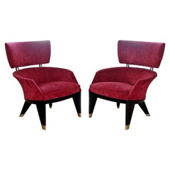 Contemporary Modern Pair of Leon Krier for Giorgetti Armchairs 1990s Italy Red