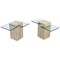 Contemporary Modern Pair of Marble & Glass Insert Side End Tables, 1980s