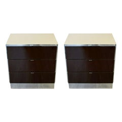 Contemporary Modern Pair of Mirrored Cabinets Nightstands by Ello 1980s Brown