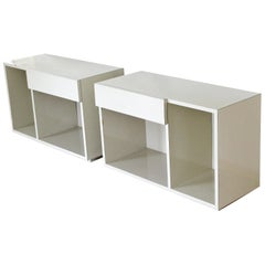 Contemporary Modern Pair of White Lacquer Nightstands End Tables with Drawers