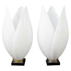 Contemporary Modern Pair of White Rougier Table Lamps 1980s Acrylic Flower Brass