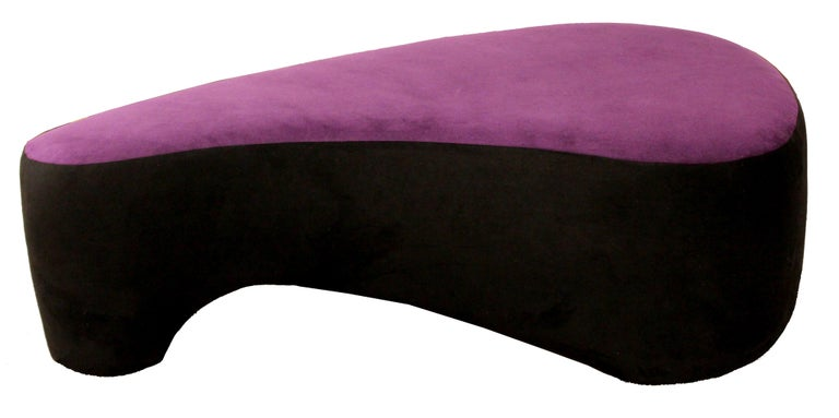 Contemporary Modern Purple Serpentine Cloud Sofas & Ottoman, Weiman For Sale 5