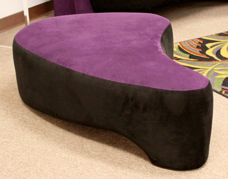 Contemporary Modern Purple Serpentine Cloud Sofas & Ottoman, Weiman For Sale 6