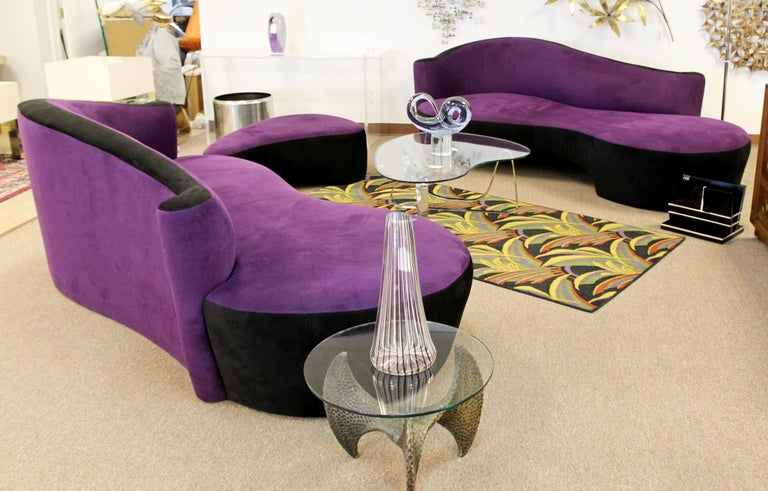 Contemporary Modern Purple Serpentine Cloud Sofas & Ottoman, Weiman For Sale 8