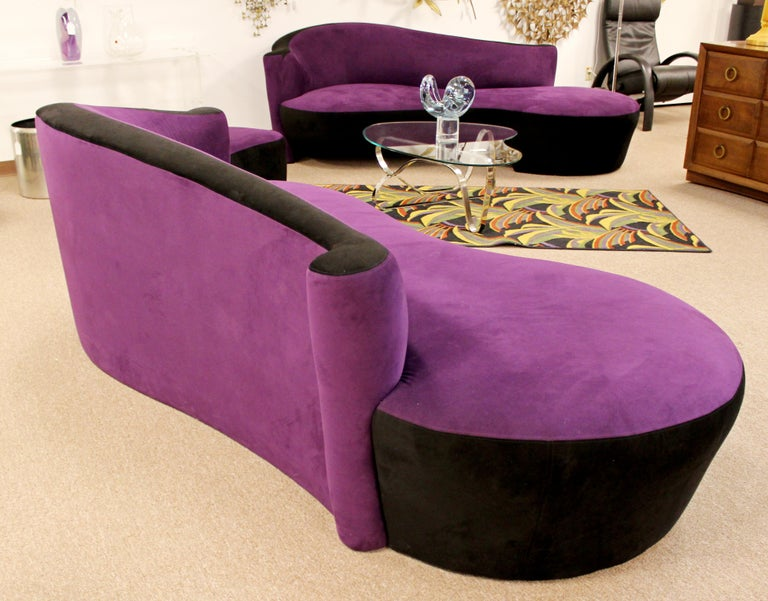 Contemporary Modern Purple Serpentine Cloud Sofas & Ottoman, Weiman For Sale 9