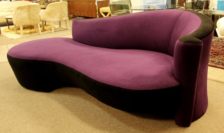 American Contemporary Modern Purple Serpentine Cloud Sofas & Ottoman, Weiman For Sale