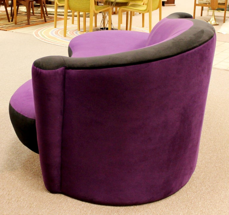 Contemporary Modern Purple Serpentine Cloud Sofas & Ottoman, Weiman In Good Condition For Sale In Keego Harbor, MI