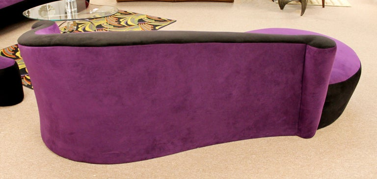 Late 20th Century Contemporary Modern Purple Serpentine Cloud Sofas & Ottoman, Weiman For Sale