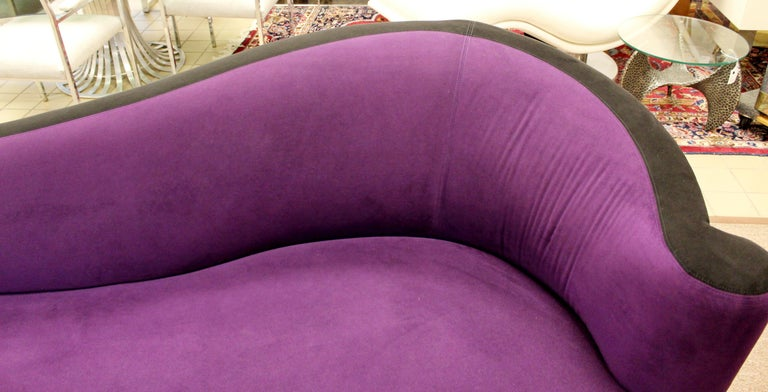Contemporary Modern Purple Serpentine Cloud Sofas & Ottoman, Weiman For Sale 1