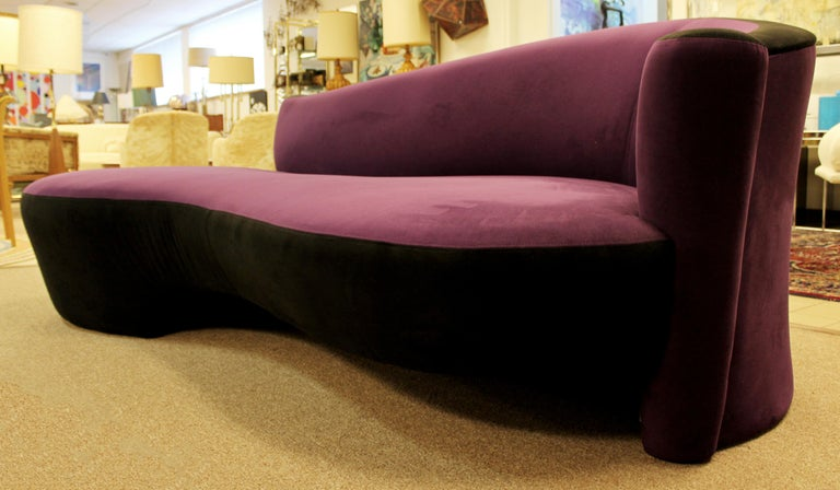 Contemporary Modern Purple Serpentine Cloud Sofas & Ottoman, Weiman For Sale 2
