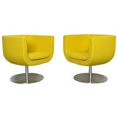 Contemporary Modern Pair of Yellow Tulip Chrome Swivel Chairs B&B Italia