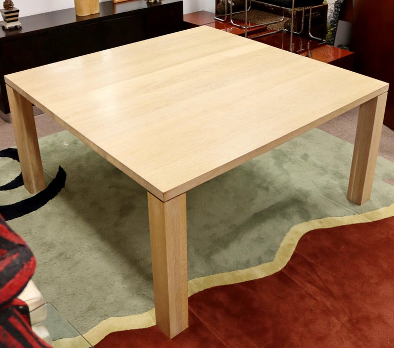 Contemporary Modern Parsons Large Oak Wood Dinette Dining Conference Table 90s In Good Condition For Sale In Keego Harbor, MI