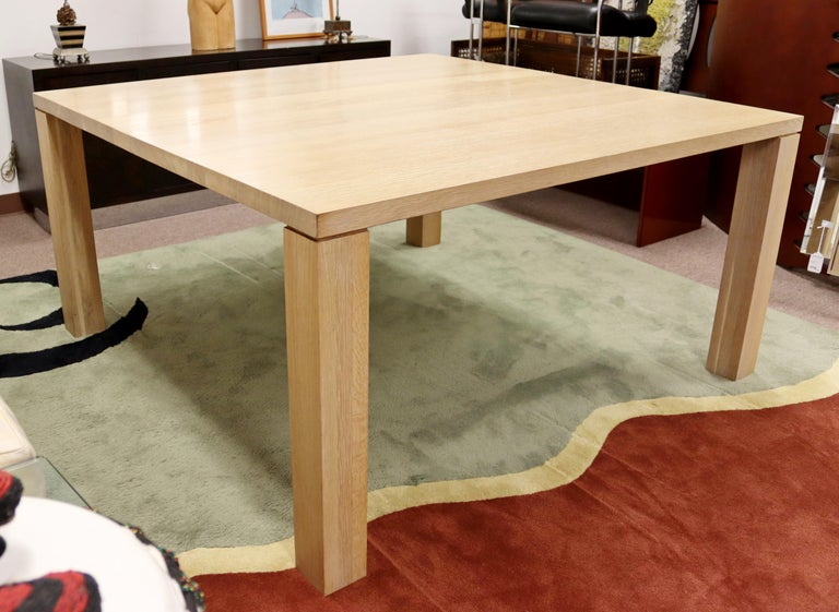 Late 20th Century Contemporary Modern Parsons Large Oak Wood Dinette Dining Conference Table 90s For Sale