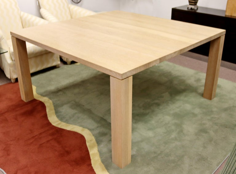 Contemporary Modern Parsons Large Oak Wood Dinette Dining Conference Table 90s For Sale 1