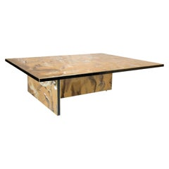 Contemporary Modern Perplex and Brass Italian Coffee Table