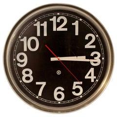 Contemporary Modern Pop Art Peter Pepper 330 Chrome Wall Clock, 1980