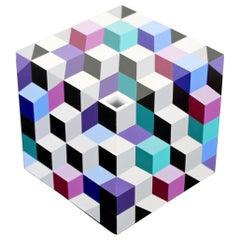 Contemporary Modern Pop Op Art Cube Table Sculpture Signed Frank Grimaldi, 1990s
