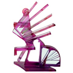 Contemporary Modern Purple Bicycle Signed Art Glass Table Sculpture, 1990s