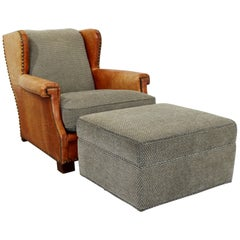 Contemporary Modern Ralph Lauren Studded Leather and Fabric Club Chair & Ottoman