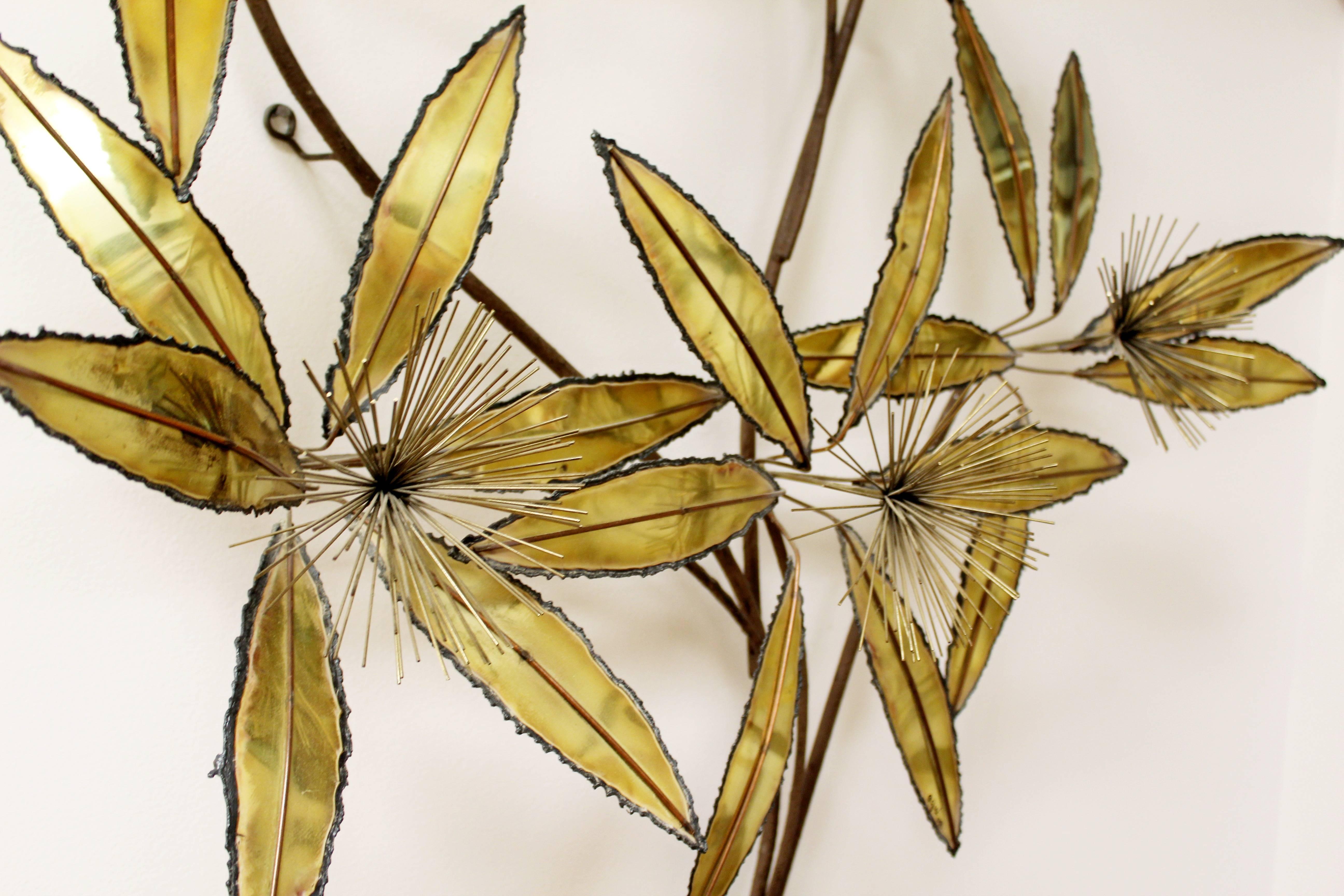 Contemporary Modern Rare Curtis Jere Brass Wall Sculpture Flowers ...