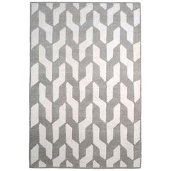 """Contemporary Modern Rectangular Grey and White Wool """"Cable Neutral"""" Rug"""