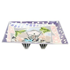 Contemporary Modern Rike Moss Signed Ceramic Pottery Centerpiece Tray Legs 1980s