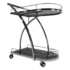Contemporary Modern Rolling Two-Tier Bar-Cart