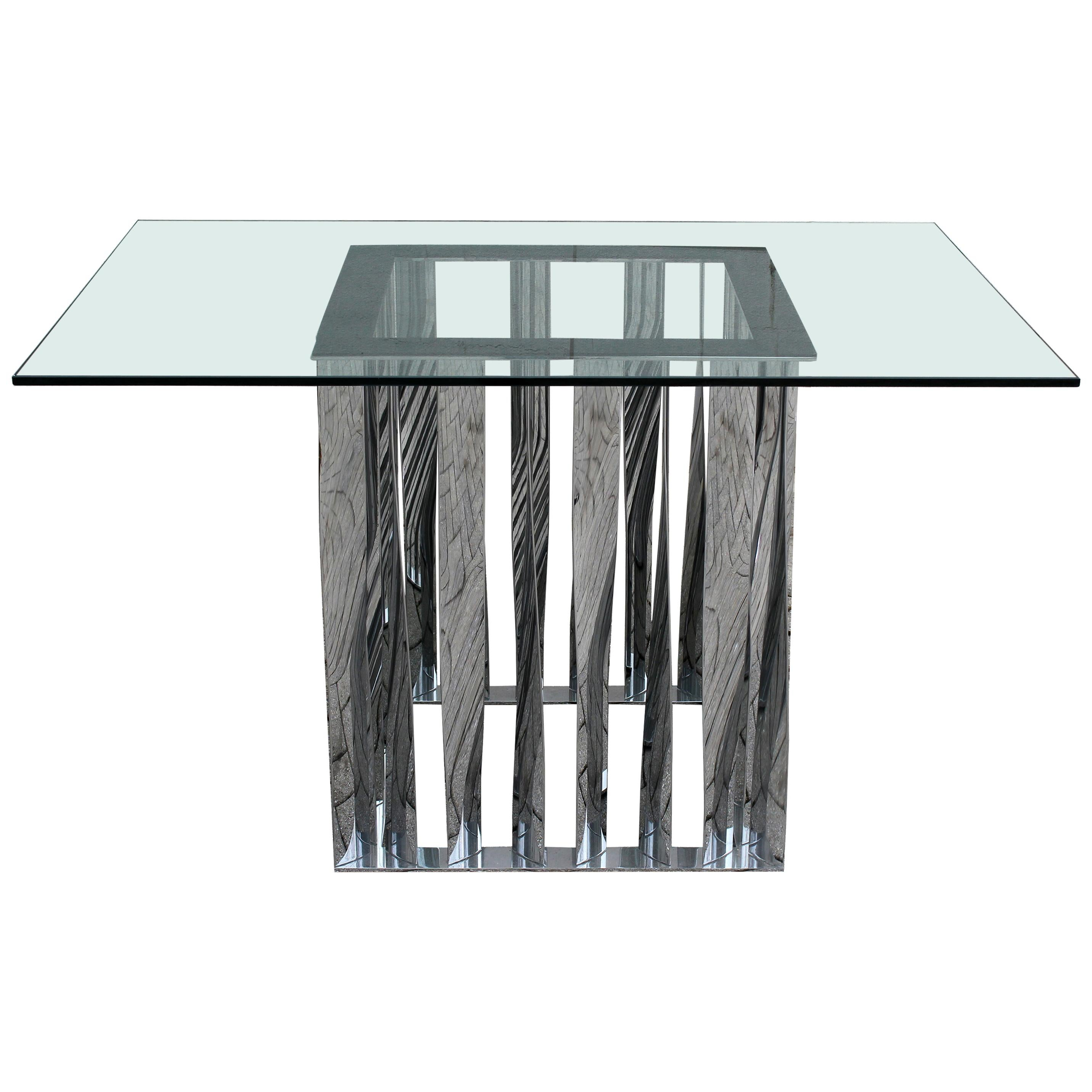 Contemporary Modern Sculptural Chrome Glass Dinette Foyer Table, 1980s