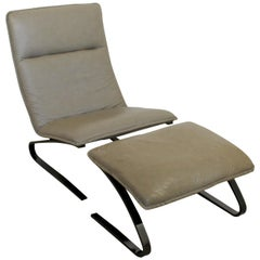 Contemporary Modern Sculptural DIA Gunmetal Leather Lounge Chair & Ottoman 1990s