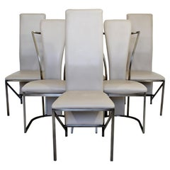 Contemporary Modern Sculptural DIA Set of 6 Chrome & Leather Dining Chairs, 1990