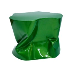 Contemporary Modern Sculptural Metal Lacquered Green Seat, Side Table
