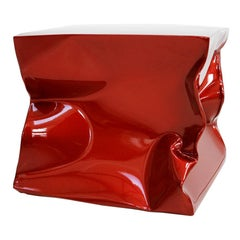 Contemporary Modern Sculptural Metal Lacquered Red Seat, Side Table