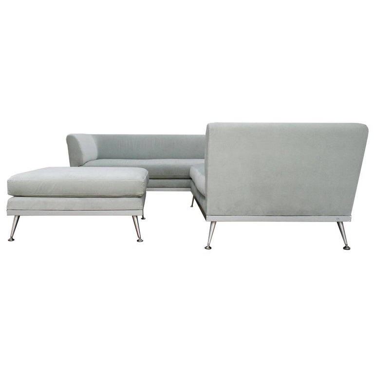 Contemporary Sofa Sale: Contemporary Modern Sectional Grey Cotton Velvet And Steel